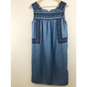 BeachLunchLounge Sleeveless Embroidery Shirt Dress